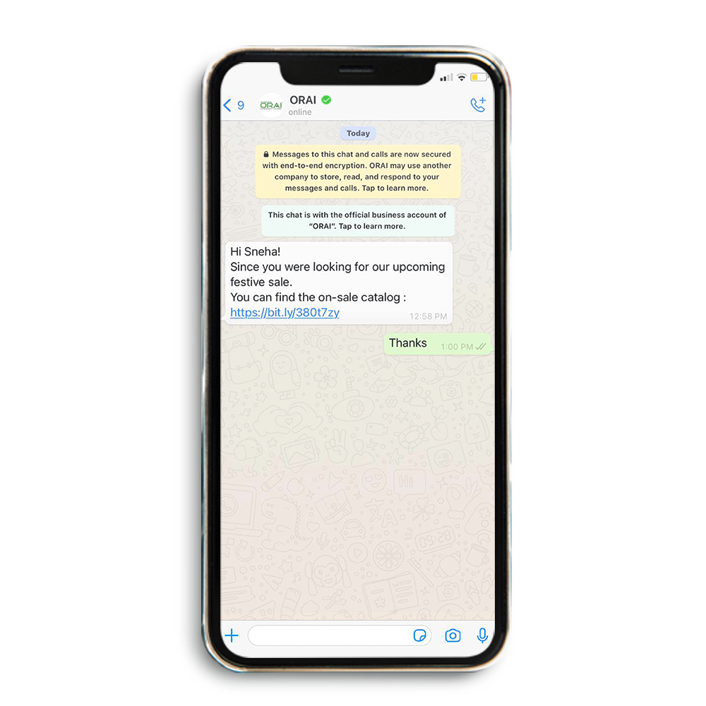 Sample Automated Updates Pushed on WhatsApp chat on ORAI's blog