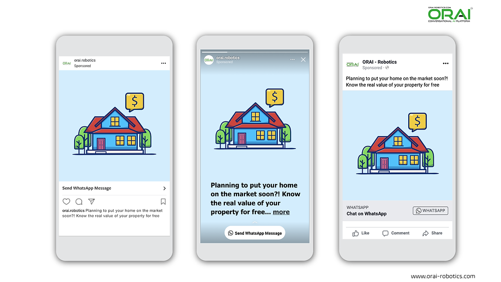 Click-to-WhatsApp ads on Facebook & Instagram using ORAI's AI portal on WhatsApp for your real estate business to know the real value of your business