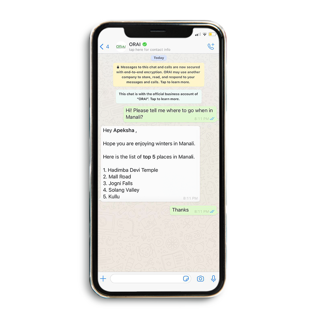 Automated chat for travel & tourism industry using ORAI's AI portal.
