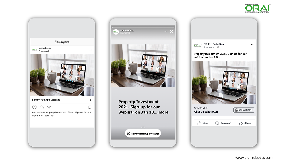 Click-to-WhatsApp ads on Facebook & Instagram using ORAI's AI portal on WhatsApp for people to register for the real estate webinar.