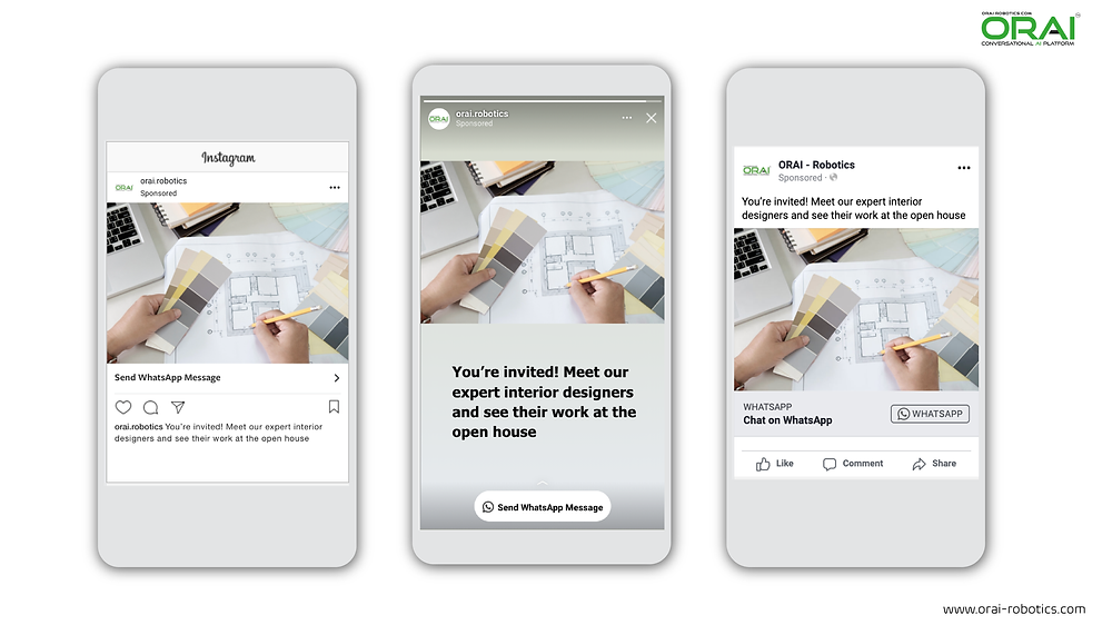 Click-to-WhatsApp ads on Facebook & Instagram using ORAI's AI portal on WhatsApp for your real estate business to schedule a meeting with your interior designer.