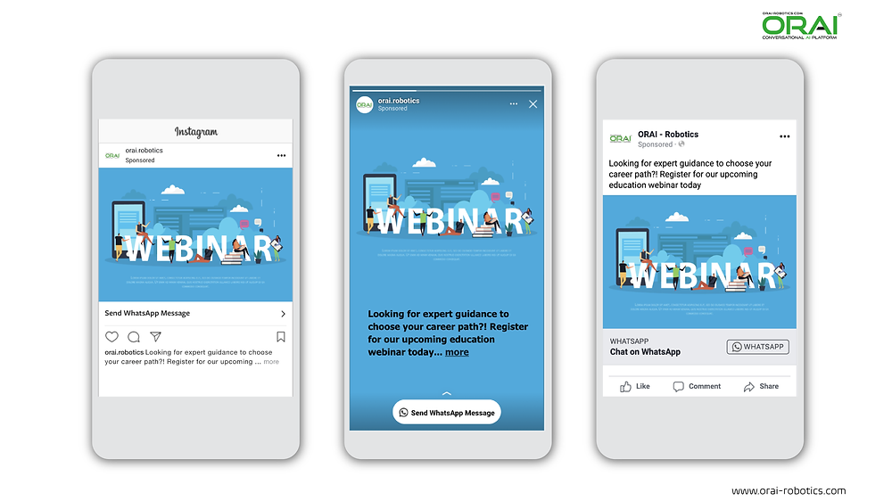 Click-to-WhatsApp ads on Facebook & Instagram using ORAI's AI portal on WhatsApp to promote your webinar on education
