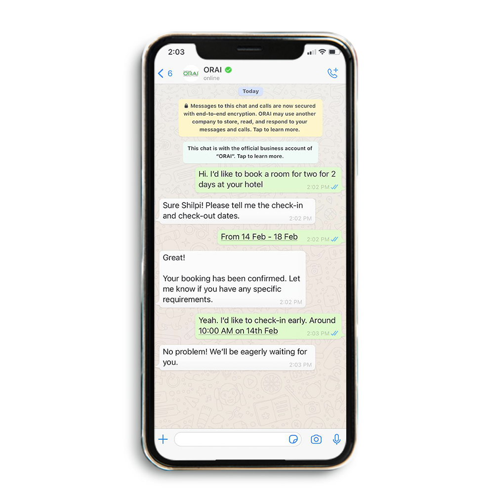 Sample Automated WhatsApp Chat for Travel Industry on ORAI's blog