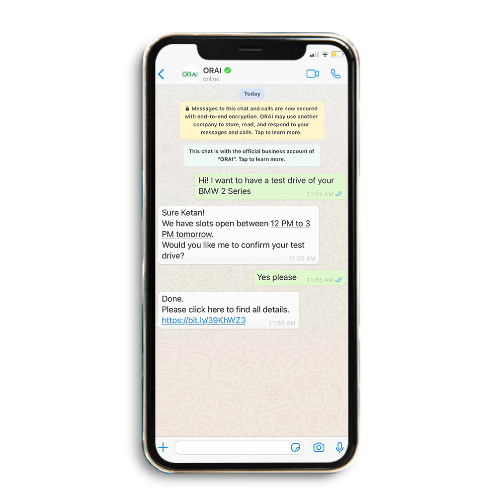 Image on ORAI's blog showing automated whatsApp chat for booking a test drive
