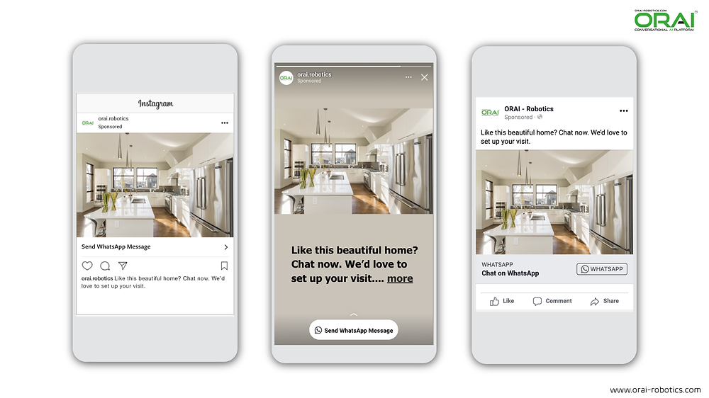 Click-to-WhatsApp ads on Facebook & Instagram using ORAI's AI portal on WhatsApp for your real estate business to book a house tour.