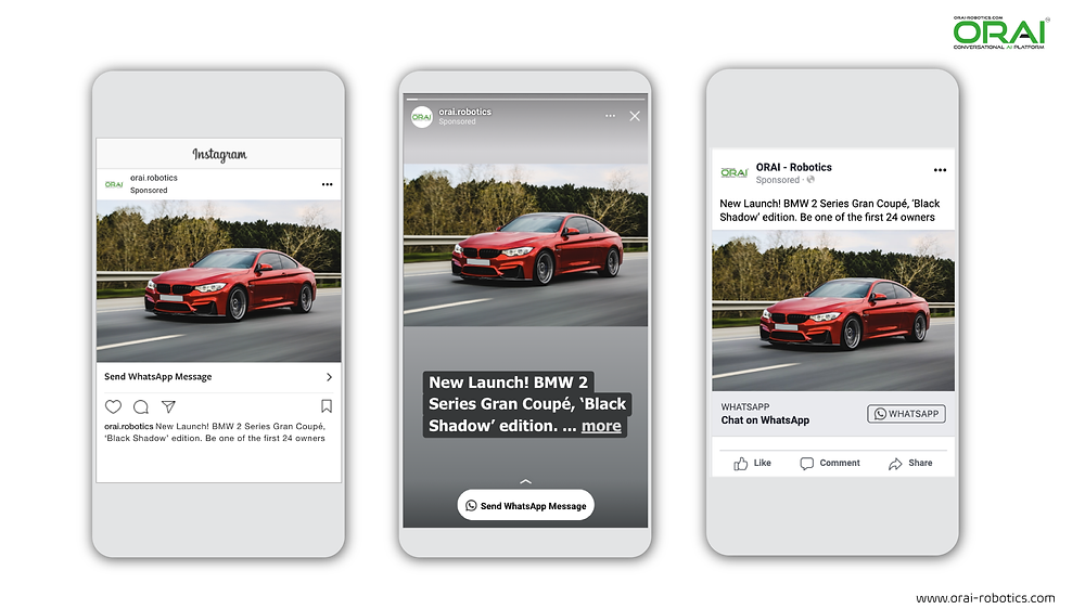 Click-to-WhatsApp ad on Facebook & Instagram stories and feed to invite people to new car model launch using ORAI's AI portal on WhatsApp