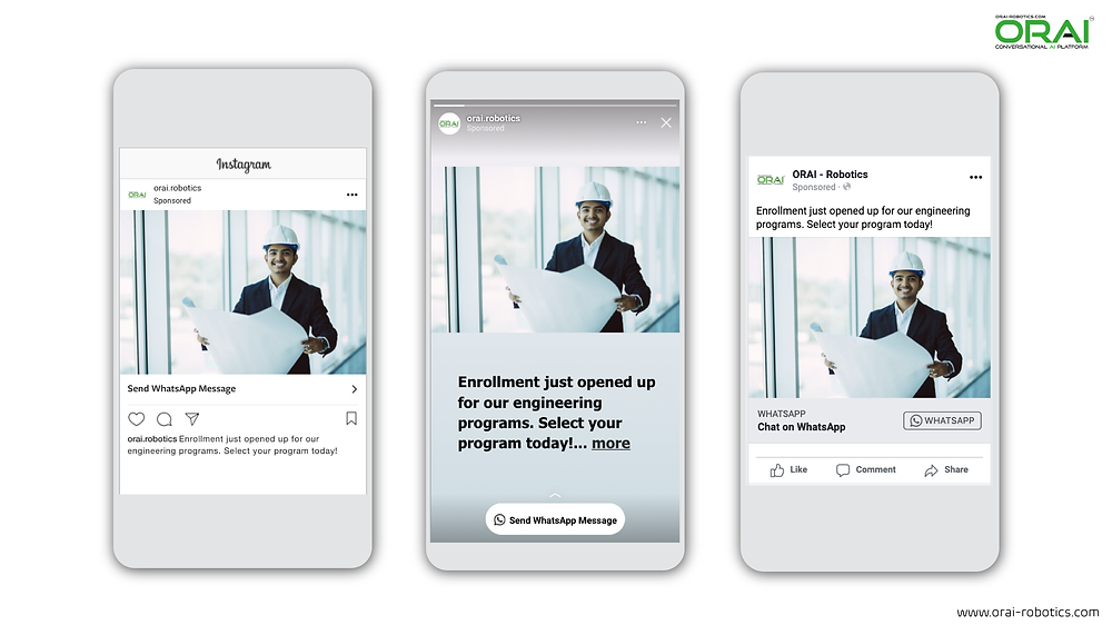 Click-to-WhatsApp ads on Facebook & Instagram using ORAI's AI portal on WhatsApp to promote enrollment for engineering seats.