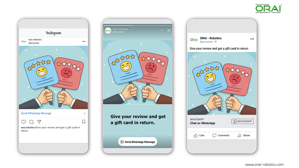 ORAI's Conversational AI technology can help in getting reviews in exchange for rewards