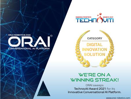 ORAI's Conversational AI Recognized as the Best Digital Innovation Solution at Technoviti Awards'21