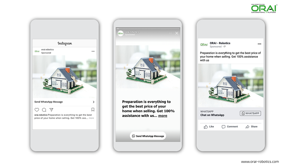 Click-to-WhatsApp ads on Facebook & Instagram using ORAI's AI portal on WhatsApp for your real estate business.