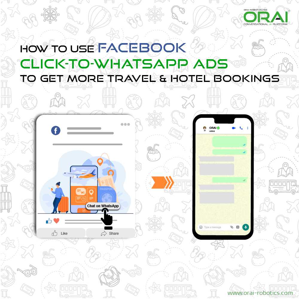Click to WhatsApp ads for Travel & Hospitality industry using WhatsApp as a channel through ORAI's portal.