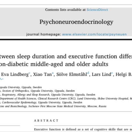 Sleep and executive functions - New paper from our lab!