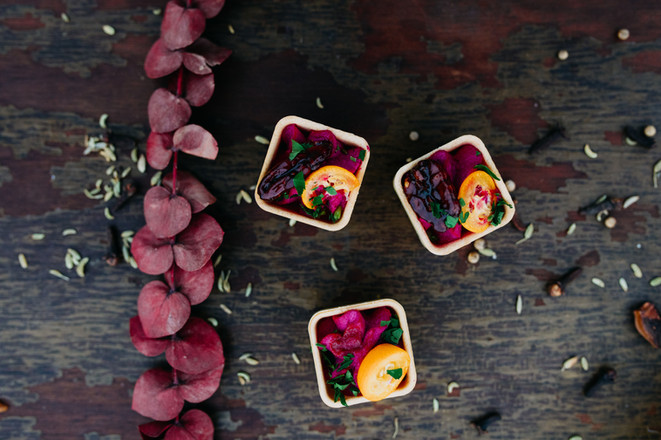 Honey Roasted Red Beet-Goat Cheese in Rosemary Tartlet w/ Kumquat & Candied Pecan