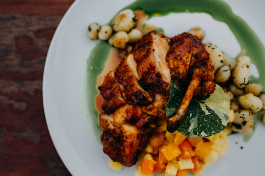 Roasted Airline Chicken Breast w/ Brown-Butter Seared Potato Dumplings, Root Vegetable ala Saffron Crème