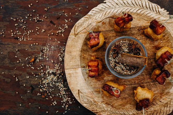 Pho Spiced Beignet w/ Honey-Hoisin Glazed Pork Belly