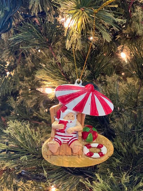 Tanning Santa Ornament