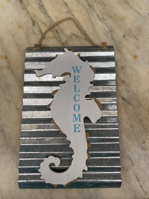 Metal Seahorse Welcome Sign