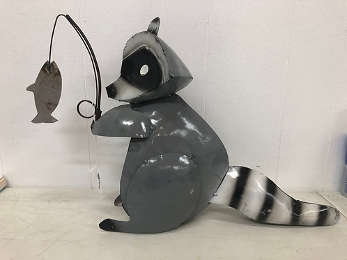 Metal Fishing Raccoon