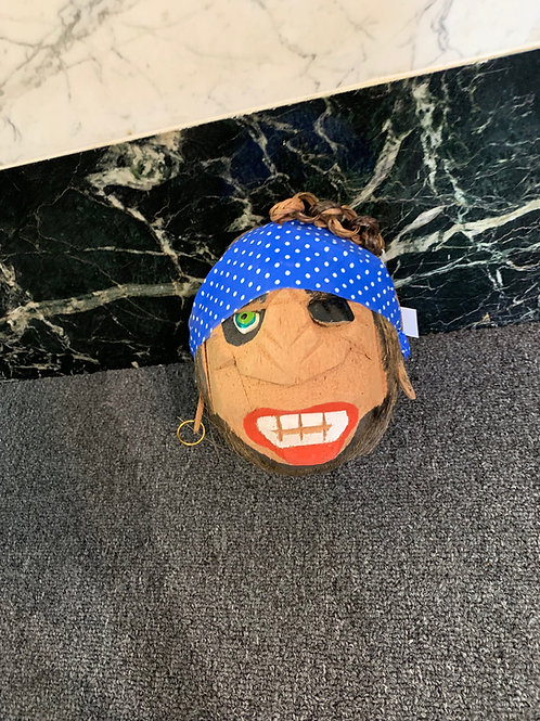Pirate Coconut Head with Blue Polka Dot Bandana
