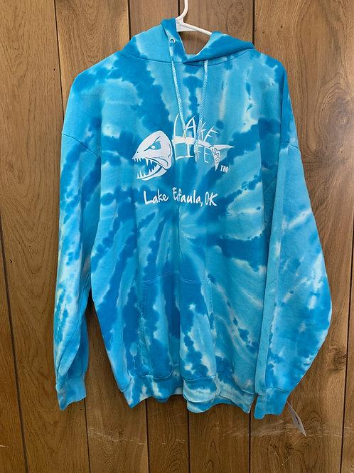 Turquoise Tie Dye Basic Lake Life Eufaula Hoodie