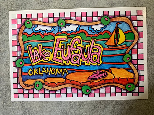 Lake Eufaula, Oklahoma beach post card