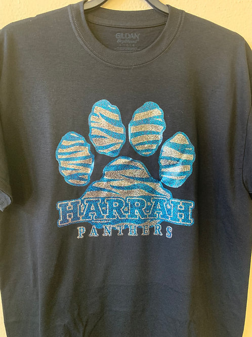 Harrah Panthers zebra pawprint glitter design