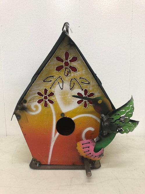 Metal Hummingbird birdhouse