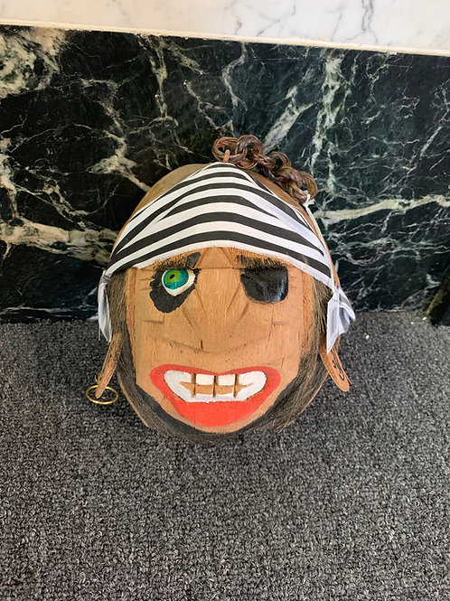 Pirate Coconut Head with Black Stripe Bandana