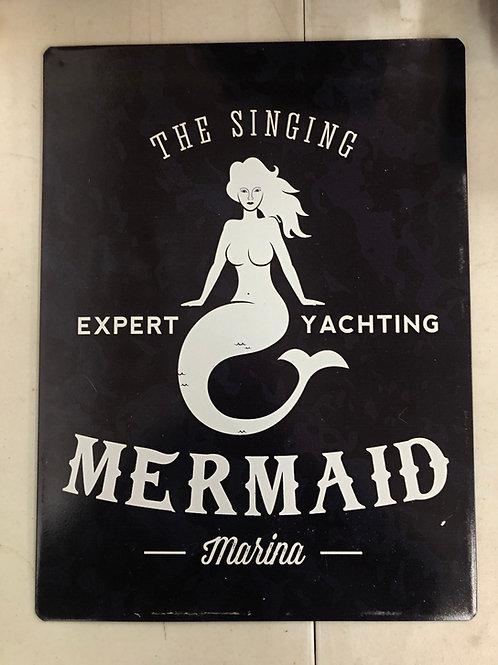 Singing Mermaid Metal Sign