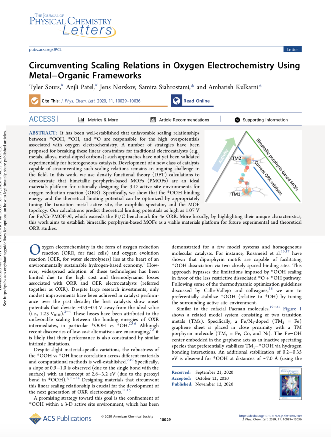 Circumventing Scaling Relations in Oxygen Electrochemistry Using Metal−Organic Frameworks