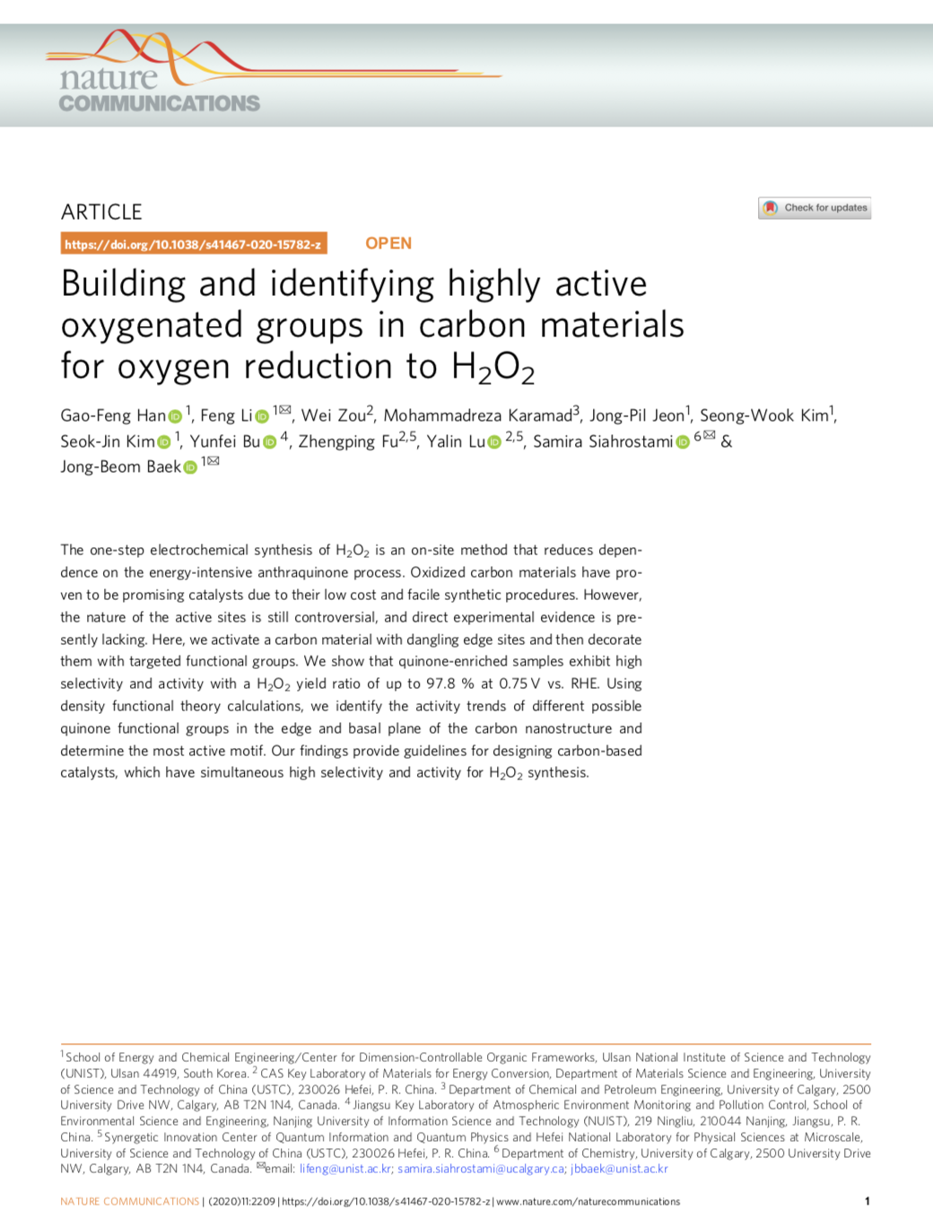 Building and identifying highly active oxygenated groups in carbon materials for oxygen reduction to
