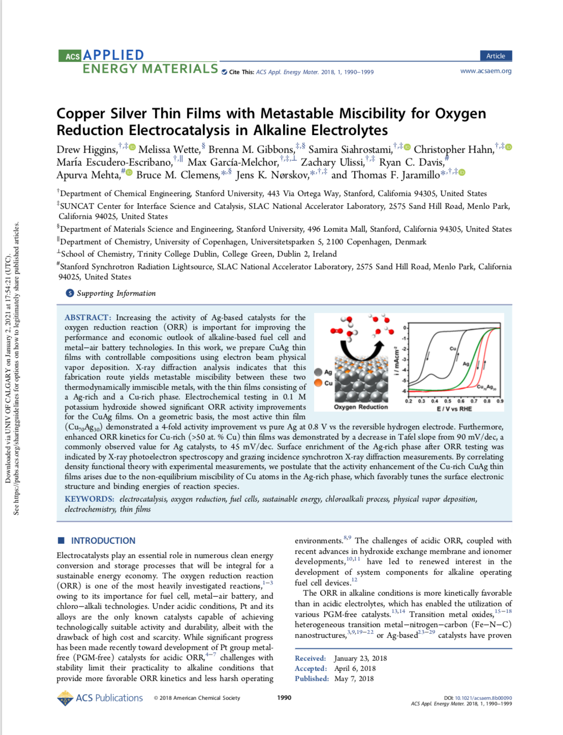 Copper Silver Thin Films with Metastable Miscibility for Oxygen Reduction Electrocatalysis in Alkali