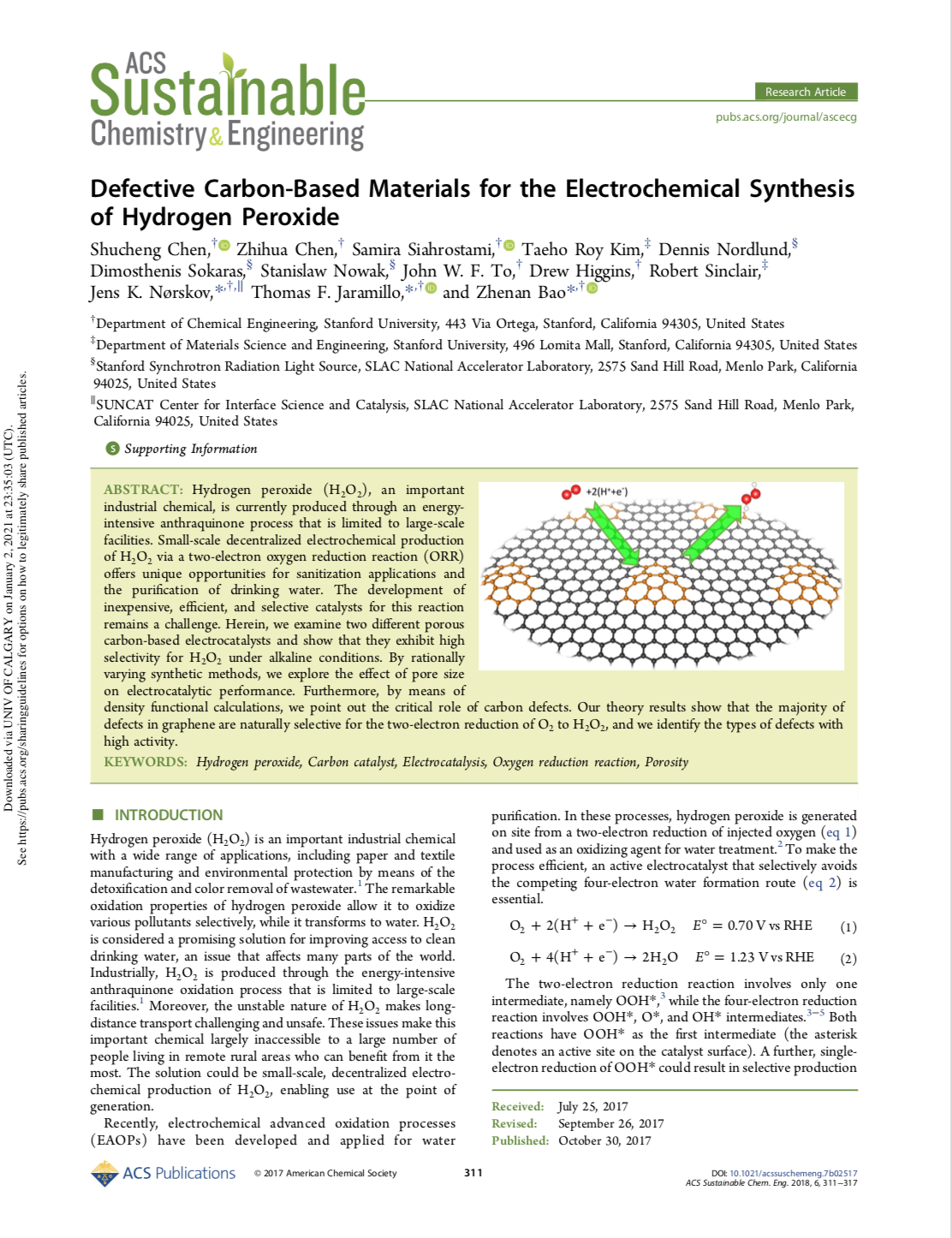 Defective Carbon-Based Materials for the Electrochemical Synthesis of Hydrogen Peroxide