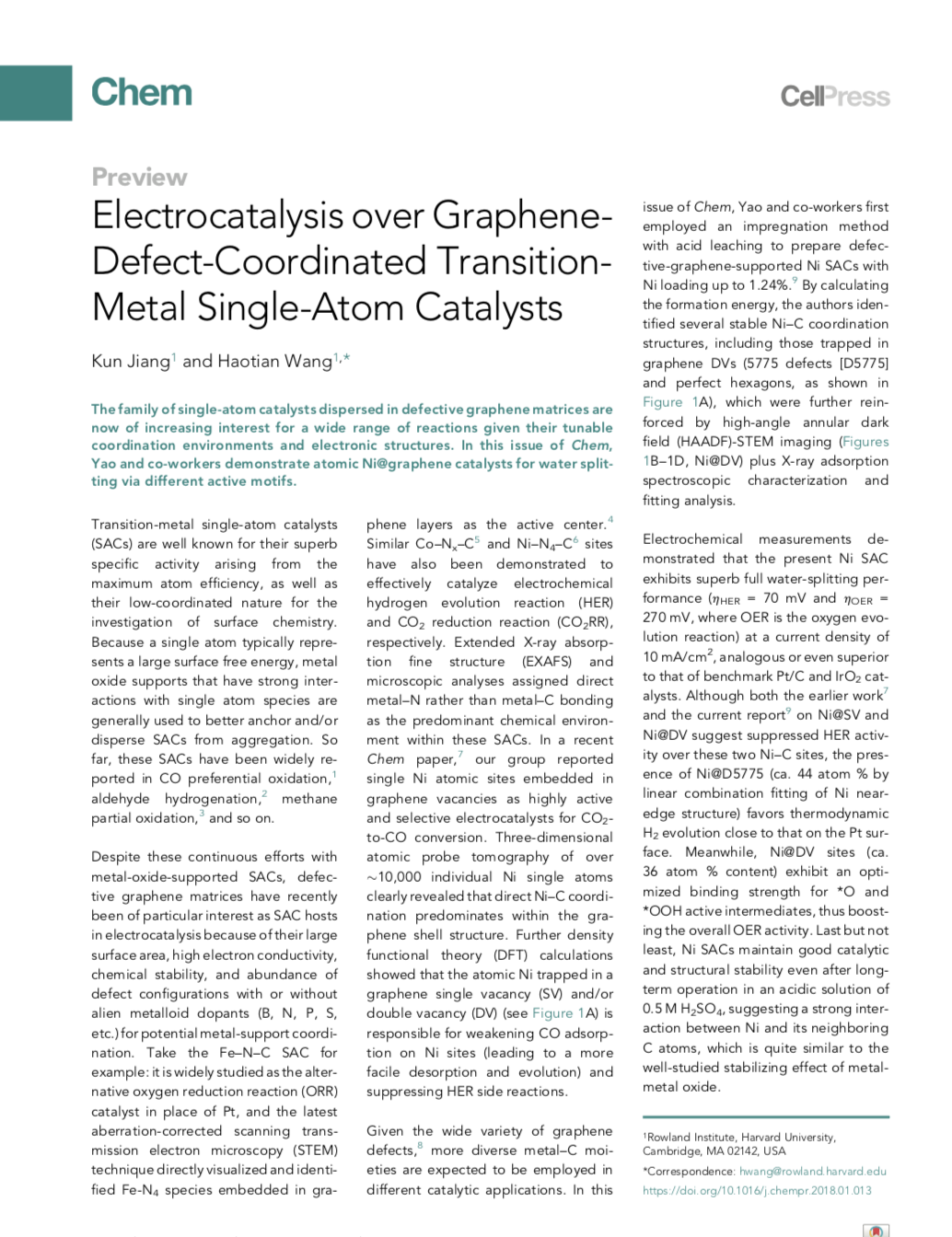 Transition-Metal Single Atoms in a Graphene Shell as Active Centers for Highly Efficient Artificial