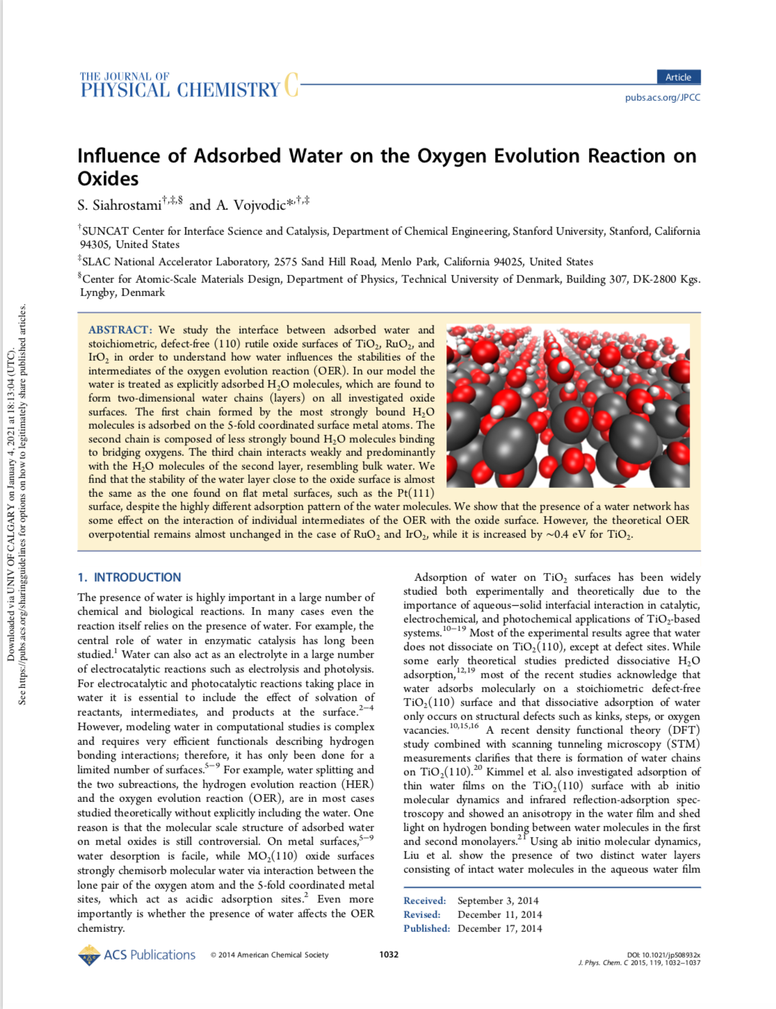 Influence of Adsorbed Water on the Oxygen Evolution Reaction on Oxides