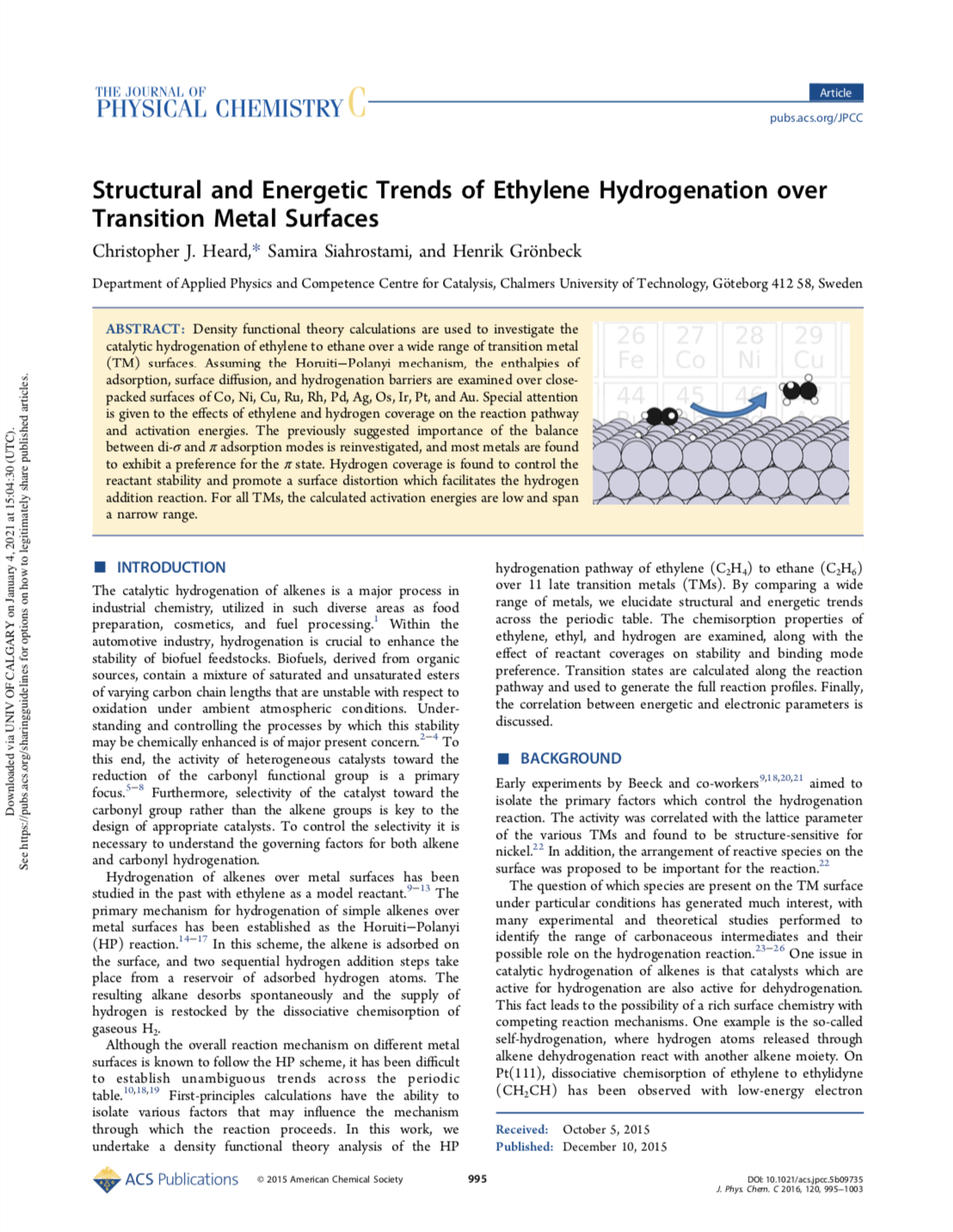 Structural and Energetic Trends of Ethylene Hydrogenation over Transition Metal Surfaces