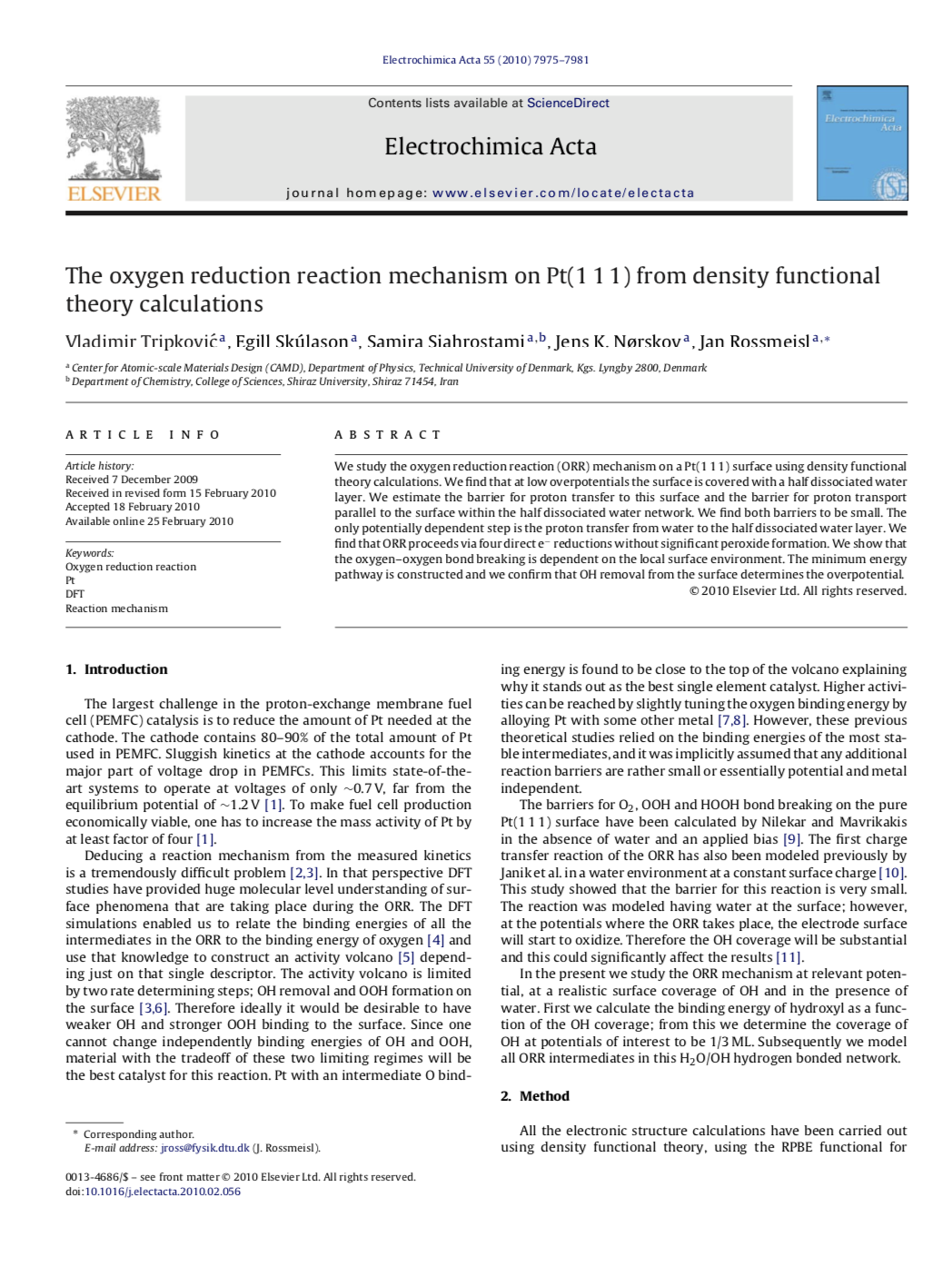 The oxygen reduction reaction mechanism on Pt(1 1 1) from density functional theory calculations