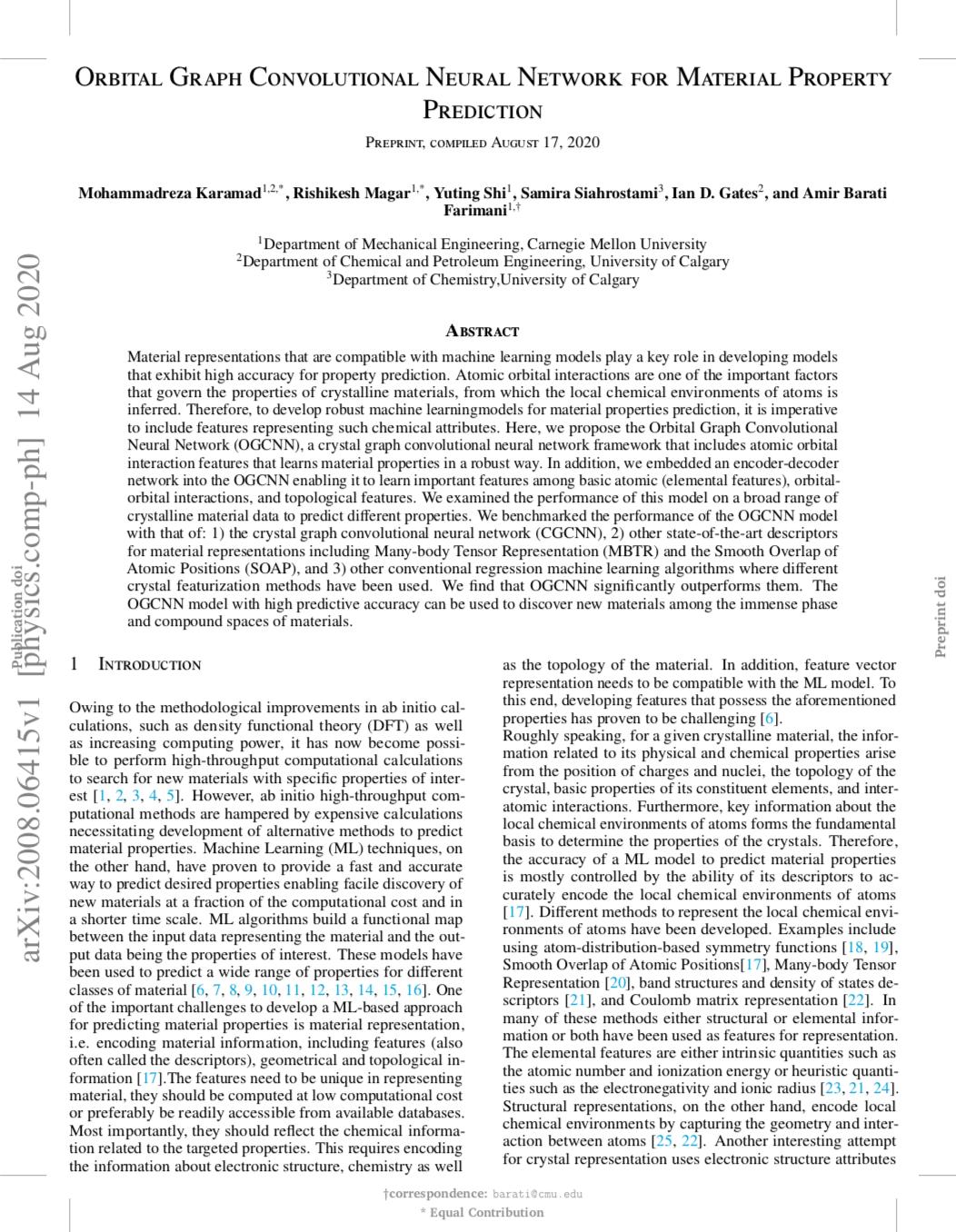 Orbital graph convolutional neural network for material property prediction