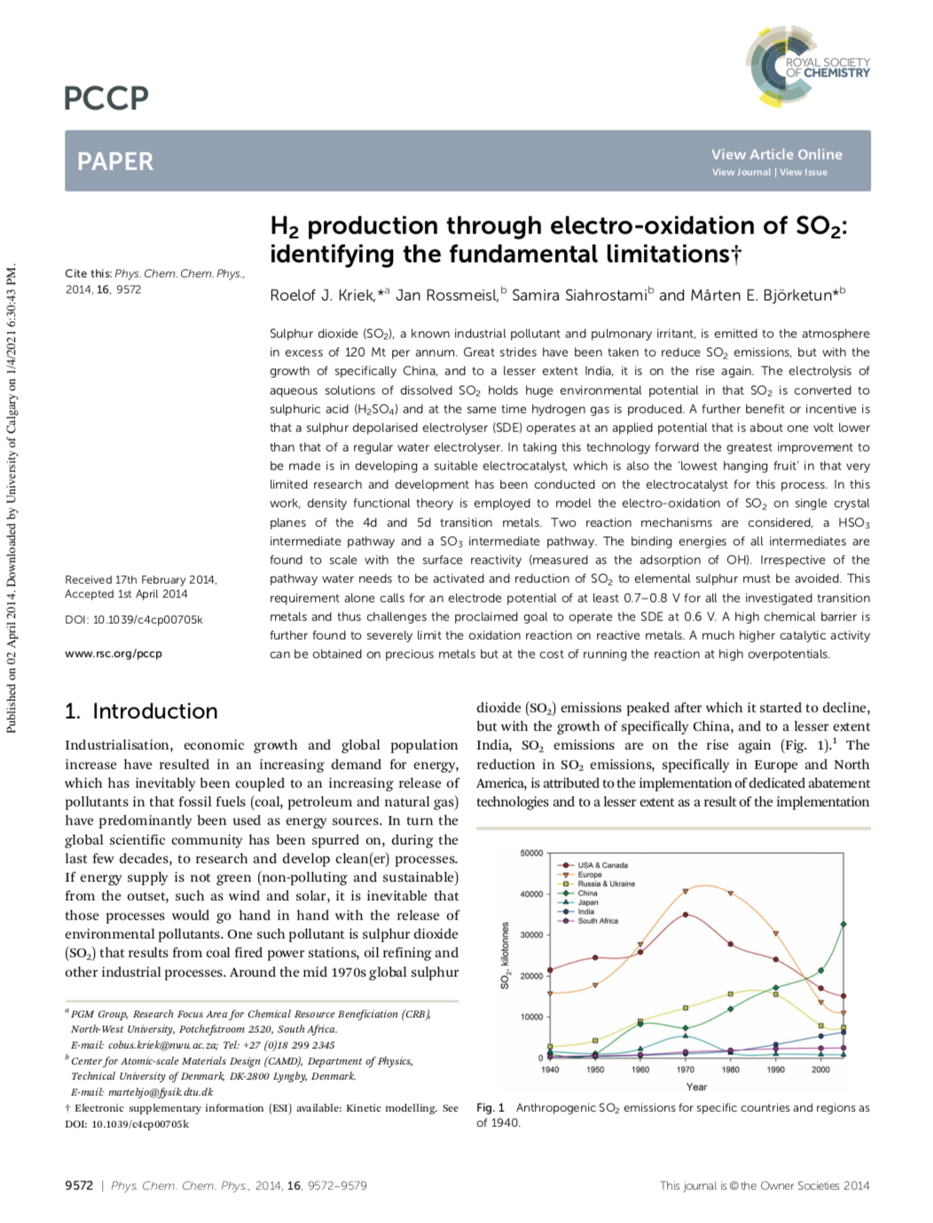 H2 production through electro-oxidation of SO2: identifying the fundamental limitations