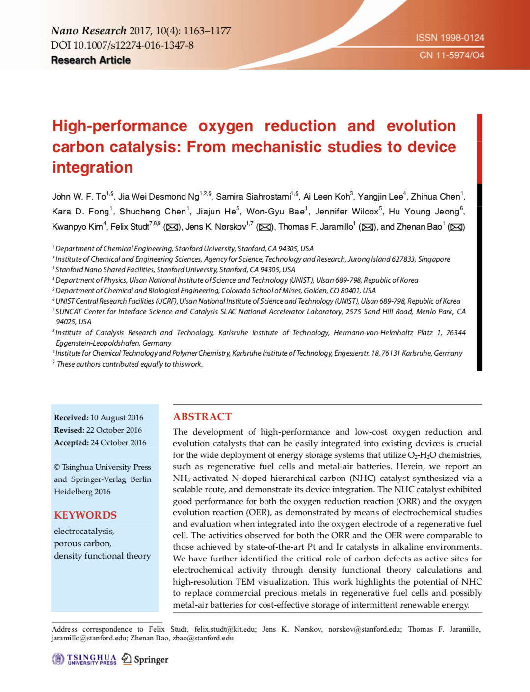 High-performance oxygen reduction and evolution carbon catalysis: From mechanistic studies to device