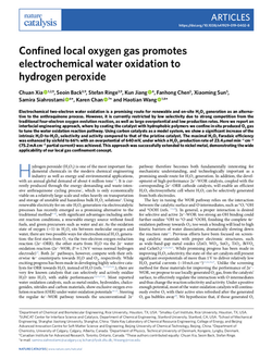 Confined local oxygen gas promotes electrochemical water oxidation to hydrogen peroxide