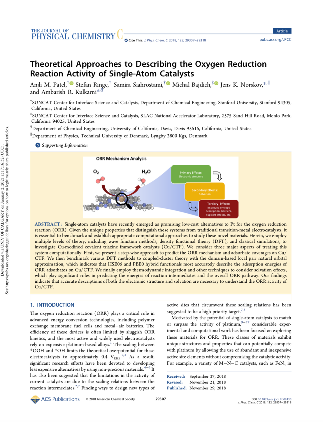 Theoretical Approaches to Describing the Oxygen Reduction Reaction Activity of Single-Atom Catalysts