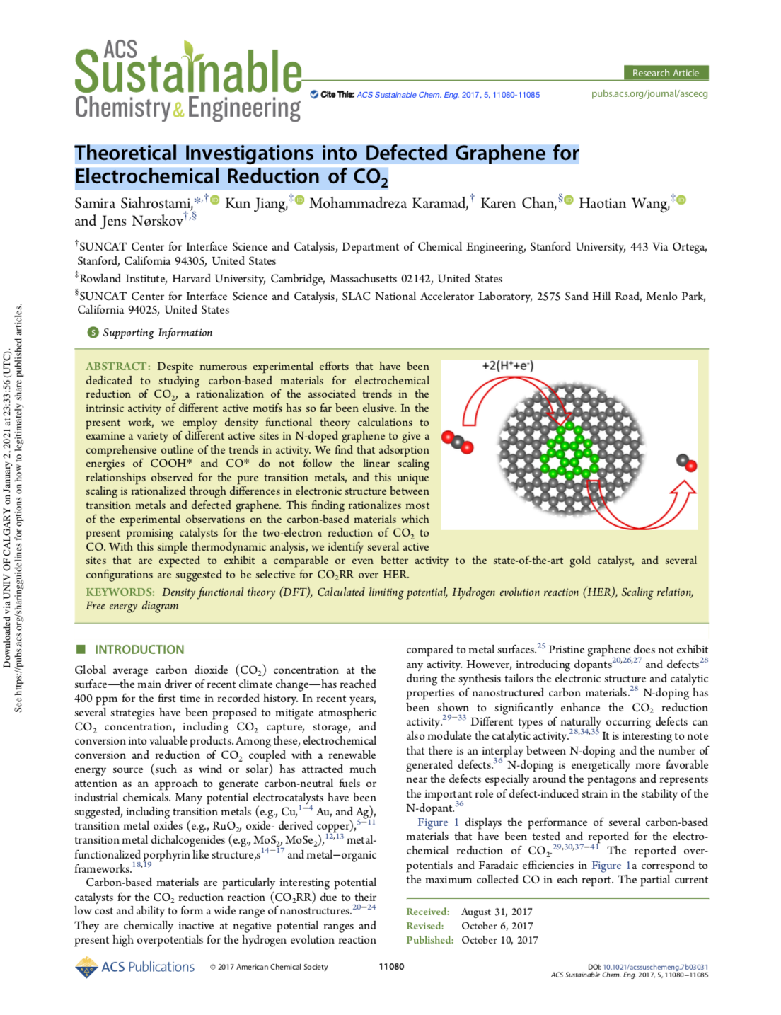 Theoretical Investigations into Defected Graphene for Electrochemical Reduction of CO2