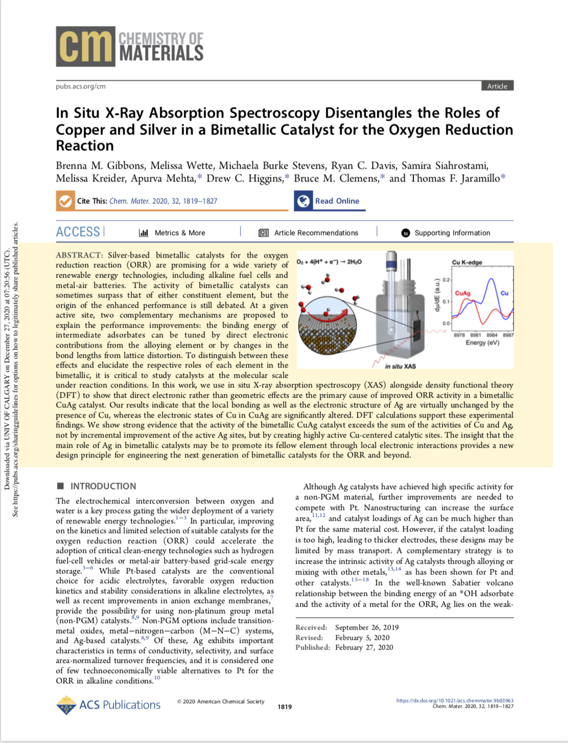 In Situ X‑Ray Absorption Spectroscopy Disentangles the Roles of Copper and Silver in a Bimetallic Ca