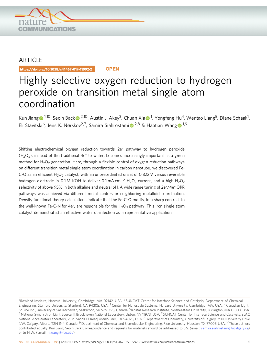 Highly selective oxygen reduction to hydrogen peroxide on transition metal single atom coordination
