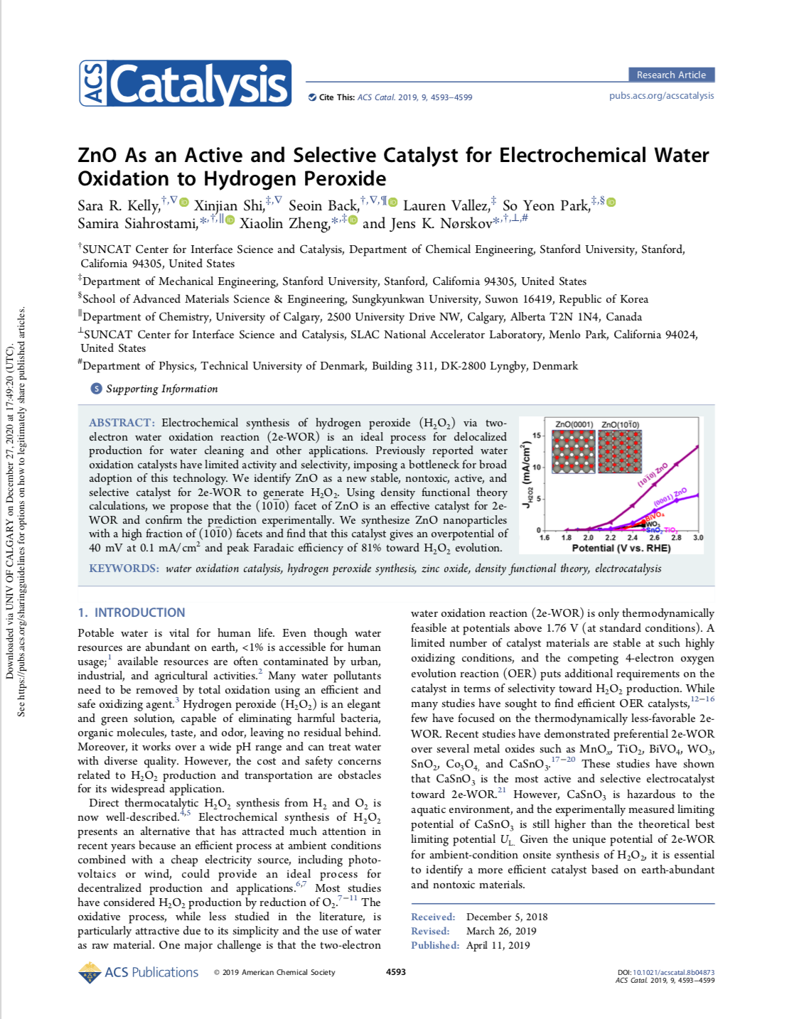 ZnO As an Active and Selective Catalyst for Electrochemical Water Oxidation to Hydrogen Peroxide