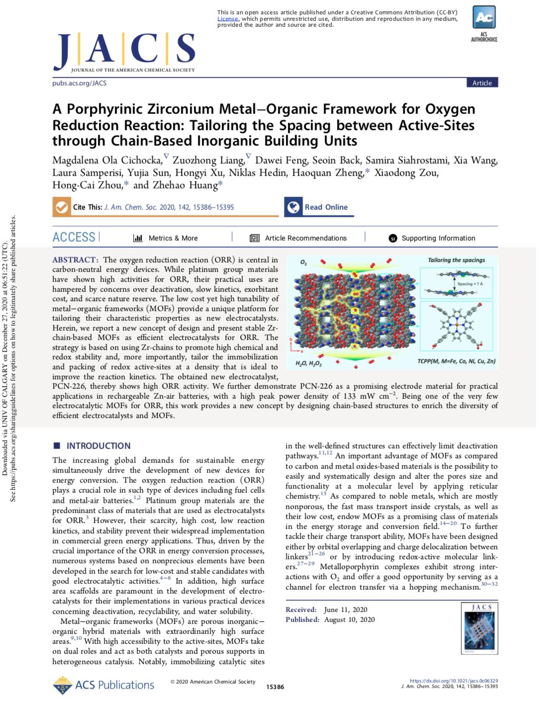 A Porphyrinic Zirconium Metal−Organic Framework for Oxygen Reduction Reaction: Tailoring the Spacing