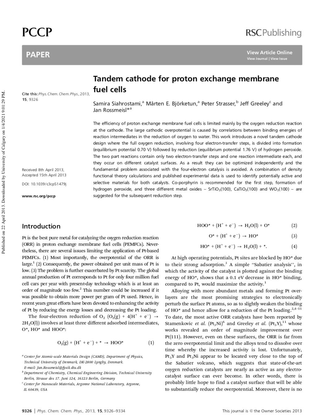 Tandem cathode for proton exchange membrane fuel cells