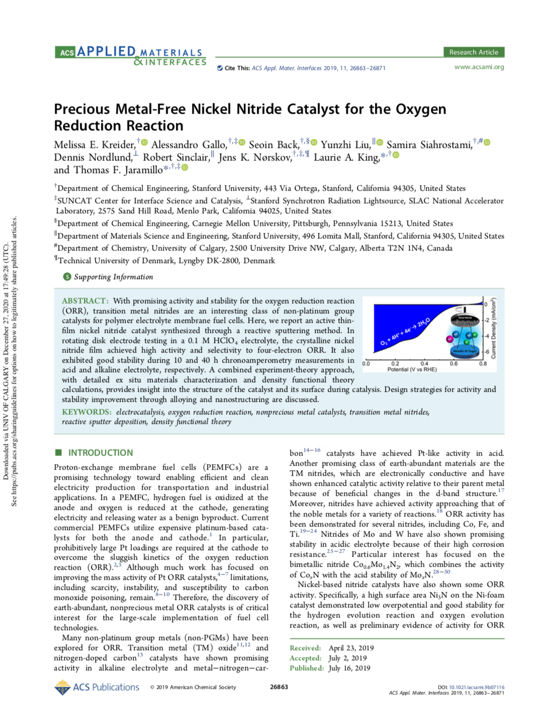 Precious Metal-Free Nickel Nitride Catalyst for the Oxygen Reduction Reaction