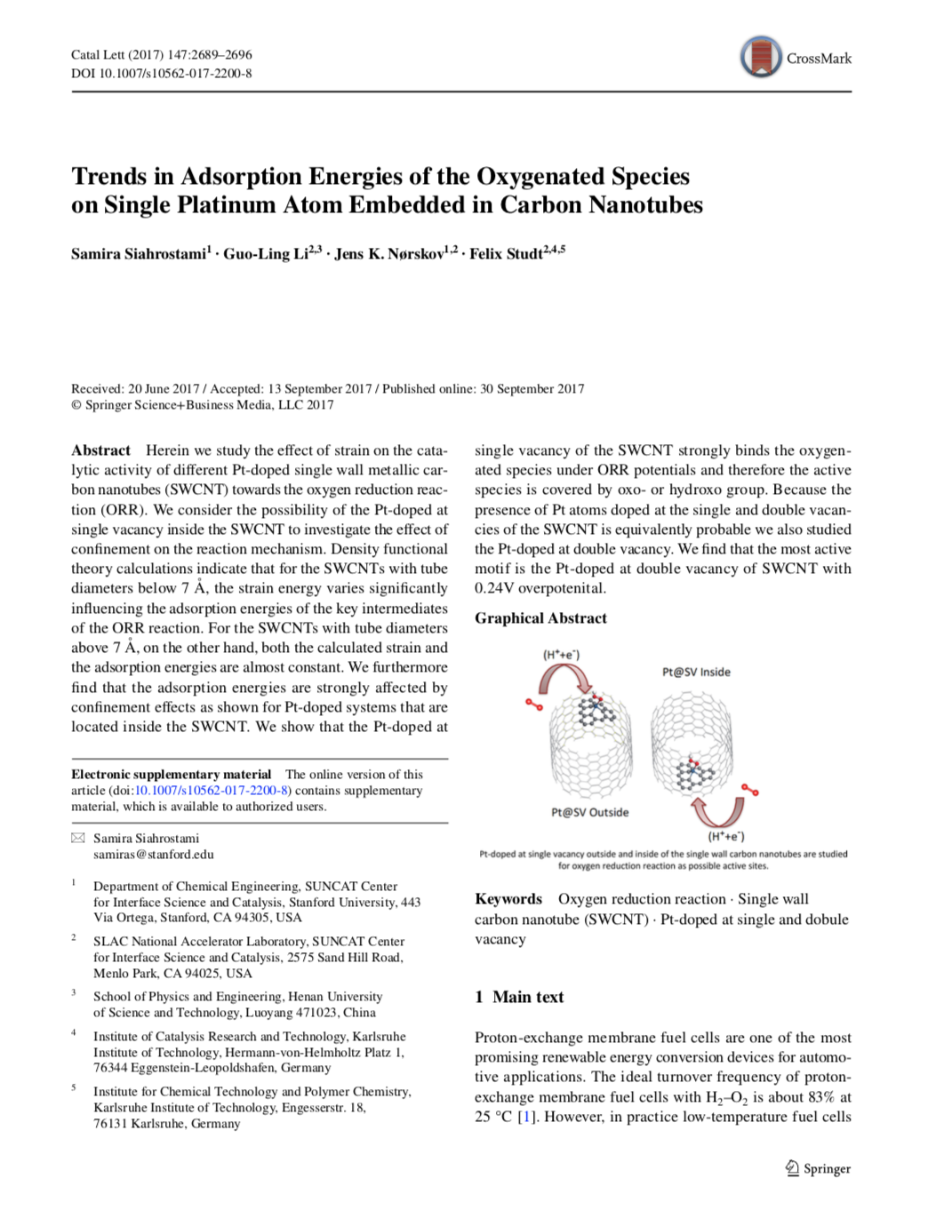Trends in Adsorption Energies of the Oxygenated Species on Single Platinum Atom Embedded in Carbon N